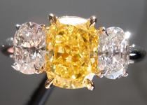 SOLD...Three Stone Colored Diamond Ring: 1.52ct Fancy Vivid Yellow Cushion Diamond Colorless Side Stones R3945