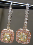 "SOLD.... Diamond Halo Earrings: Fancy Light Yellow ""Pink Lemonade"" Diamond Lever Backs Prong Set R3839"