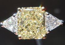 Three Stone Diamond Ring: 2.07ct Radiant Cut Fancy Light Yellow VS2 GIA Step Cut Trill Lookalikes R3963