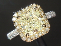 Diamond Ring: 1.61ct U-V SI1 Radiant Cut Diamond Halo Ring GIA R3970