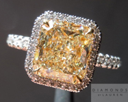 Yellow Diamond Ring: 2.02ct Radiant Cut U-V VS2 GIA Single Cut Diamond Halo Ring R3975