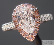 SOLD...Colorless Diamond Ring: .76ct Pear Shape D SI2 GIA Pink Diamond Halo R3976