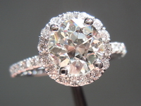 SOLD... Halo diamond ring: 1.36ct. J SI1 Old European cut diamond GIA R3950