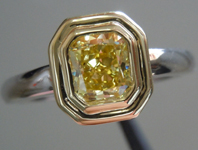 SOLD.....Diamond Ring: .71ct Radiant Cut Fancy Intense Yellow SI1 GIA Bezel Beauty in 18K R3947