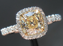 """SOLD....Halo Diamond Ring: 1.01 Y-Z SI2 Branded DBL Cushion """"Uber"""" Halo Ring R3955"""