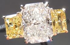 SOLD....Three Stone Diamond Ring: 1.57ct D/SI2 Original Radiant Cut Eye Clean R3948