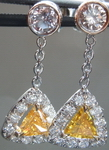SOLD.... Diamond Earrings: Natural Orange and Pink Diamond Halo Dangle GIA R3911