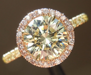SOLD....Yellow Diamond Ring: 1.23ct Round Brilliant W-X SI1 GIA Pink Diamond Halo R4023