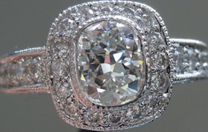 SOLD....Halo Diamond Ring: 1.00 F/VS2 Cushion Platinum Old Fashioned Sparkle GIA R4031