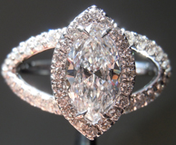 SOLD....Diamond Halo Ring: .79ct D/VS2 Marquise Diamond 18Karat White Gold R4030