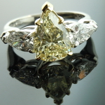 Pear Diamond Ring: 1.73ct Pear Shape S-T SI1 GIA Three Stone Ring colorless sides R4049