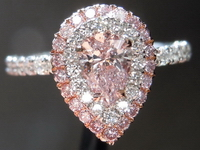 "SOLD....Halo Diamond Ring: .35ct Pear Shape Light Pink VVS1 GIA Plat  Uber Setting"" R4056"