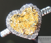 Yellow Heart Halo Diamond Ring: 1.51ct Heart Shape Fancy Light Yellow SI1 GIA Perfect Heart R4064