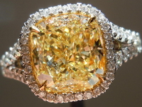 SOLD....Halo Diamond Ring: 2.68ct Fancy Light Yellow VVS2 Cushion UBER set GIA R4078