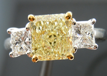 SOLD....Three Stone Ring: 1.32ct Radiant Cut Y-Z, Natural Light Yellow VS1 Trade Up Special R4047