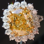SOLD.....Halo Yellow Diamond Ring: 5.03ct Fancy Yellow VS1 Cushion Cut UBER set GIA R4105