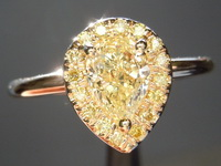 SOLD!!!Yellow Diamond Ring: .76ct Pear Shape Fancy Light Yellow VS1 Diamond Halo Ring R4076