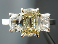 SOLD....Three Stone Ring: 1.57ct Brownish Greenish Yellow Daussi Cushion GIA Diamond 18K  R4110
