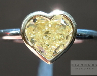 Yellow Diamond Ring: 1.15ct Heart Shape Fancy Light Yellow SI1 GIA Bezel Set Ring R4111