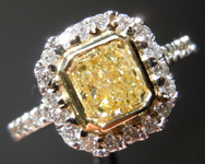 SOLD.....Halo Diamond Ring: 1.01ct Radiant Cut Fancy Light Yellow VS2 18K White and Yellow Gold R4079