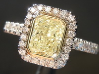 SOLD........Halo Diamond Ring: 1.02ct Radiant Cut Fancy Light Yellow I1 18Karat White and Yellow Gold R4083