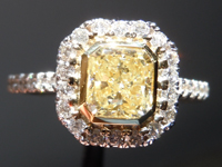 SOLD...Diamond Halo Ring: 1.01ct Radiant Cut Y-Z, Natural Light Yellow VS2 18K Yellow and White Gold R4084