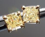 SOLD....Diamond Earrings:  .77ctw Y-Z, Natural Light Yellow Radiant Cut Diamond Earrings 18K Gold R3999