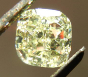 SOLD....Loose Diamond: .93ct Cushion Cut Fancy Light Yellow SI2 GIA Strong Color Cool Cut R4124