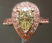 Diamond Ring: 1.24ct Pear Modified Brilliant Fancy Brownish Greenish Yellow VS1 GIA Pink Diamond Halo R4125