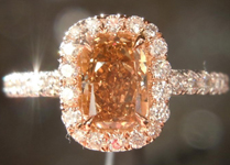 SOLD....Diamond Halo Ring: .76ct Cushion Cut Fancy Brown-Yellow VS2 GIA 18K Pink and White Gold R4119