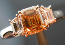 SOLD....Three Stone Diamond Ring: 1.11ct Emerald Cut Fancy Yellowish Brown SI2 Handmade Fluid Design R4127