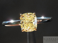 "Diamond Ring: .82ct Cushion Cut Fancy Yellow SI2 GIA ""Ultra Flower"" Solitaire R4120"