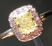 Yellow Diamond Ring: .72ct Fancy Yellow Radiant Diamond Pink Diamond Halo Ring R4143