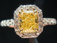 Diamond Halo Ring: .71ct Radiant Cut Fancy Intense Yellow SI2 GIA Platinum and 18K R4138