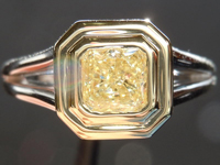 SOLD....0.63ct Light Yellow VS2 Radiant Cut Diamond Ring R4142