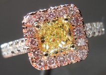 SOLD....Diamond Halo Ring: .57ct Radiant Cut Fancy Yellow VVS1 GIA Pink Lemoade Halo R4148