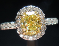 SOLD.....Diamond Halo Ring: .71ct Cushion Cut Fancy Intense Yellow VS1 GIA Platinum and 18K YG R4152
