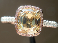 SOLD....Halo Diamond Ring: 1.16ct Fancy Brownish Yellow Double Decker Branded DBL Uber Set GIA R4062