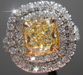 Diamond Halo Ring: 1.34ct Fancy Yellow Cushion SI1 GIA Platinum & 18K Gold Double Halo R4014