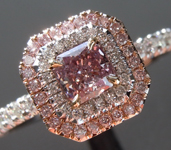 HOLD.....Pink Purple Diamond Ring: Rare .35ct Fancy Pink-Purple Radiant Cut GIA Diamond Halo  R4129