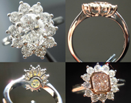 "Semi Mount Ring: Hand Made ""Princess"" Halo Ring in Platinum SO4108"