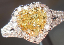 Diamond Halo Ring: .79ct Heart Shape Fancy Yellow SI2 GIA Split Shank R4168