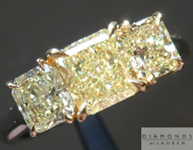 SOLD.....Yellow Diamond Ring: .81ct Radiant Cut Fancy Yellow VS1 GIA Fancy Light Yellow Side Stones  R4172
