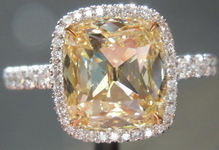 Halo Diamond Ring: 2.52ct Y-Z Light Yellow  Branded DBL Double Decker Historic cut GIA R4069