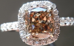 SOLD....Halo Diamond Ring: 1.20ct Fancy Dark Brown Cushion GIA 18kt handmade R4178