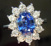 SOLD....Sapphire and Diamond Ring: Precision Cut 1.64ct Blue Sapphire Oval Shape 18K Gold R4190