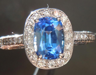 Sapphire and Diamond Ring: Precision Cut 1.19ct Blue Sapphire Cushion Cut 18K R4189