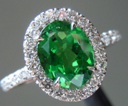 SOLD...Tsavorite Garnet Ring: Precision Cut 1.22ct Tsavorite Garnet Oval Shape Diamond Halo Ring R4186