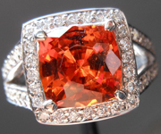 SOLD.....Garnet and Diamond Halo Ring: Precision Cut 3.09ct Spessartite Garnet Cushion Cut 14K White Gold R4185