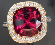 Diamond Halo Ring: Precision Cut 3.90ct Rhodolite Garnet Cushion Cut Showstopper R4184